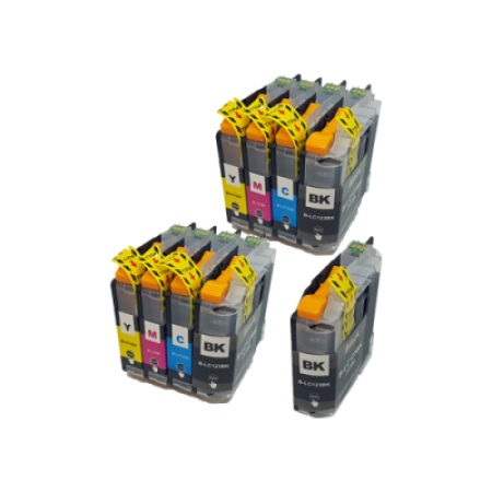 Compatible Brother LC123 Ink Cartridge TWIN Multipack + FREE Black - 9 Inks