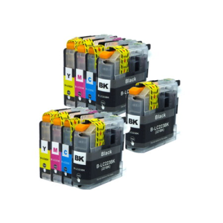 Compatible Brother LC223 Ink Cartridge TWIN Multipack + FREE Black - 9 Inks