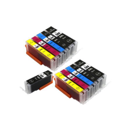 Compatible Canon PGI-580 CLI-581 XXL Extra High Capacity Ink Cartridge TWIN Multipack (No Blue) + FREE PGI-580XXL - 11 Inks